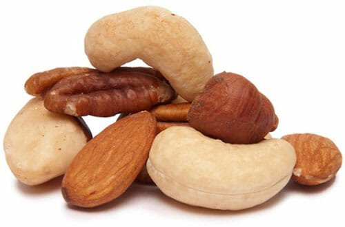 Pecans, cashews, almonds and brazil nuts