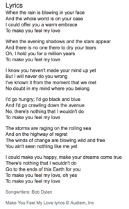 """These are lyrics to the song """"Make you feel my love"""" by Bob Dylan"""