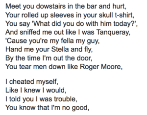 """This is an image of the lyrics to the Amy Winehouse song """"You Know I'm No Good"""""""