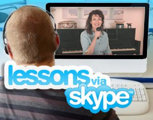 woman taking skype singing lessons