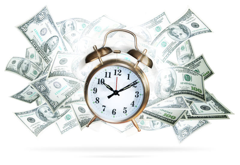 an old fashioned alarm clock with money in the background