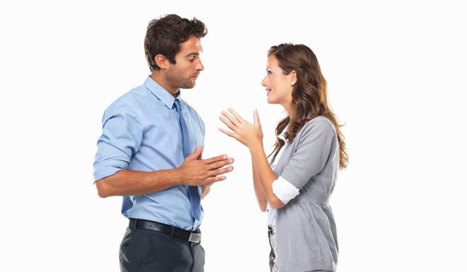 two people talking to each other