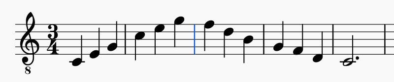 ascending and descending musical scale in 3/4 time