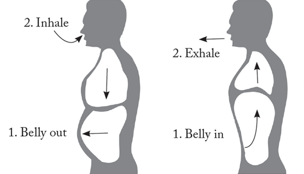 diagram showing proper breathing technique