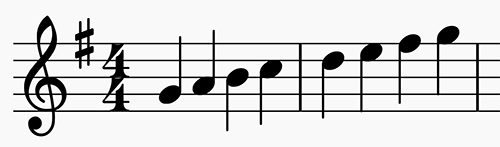 G major scale in 4:4 time