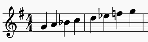 G minor scale in 4:4 time