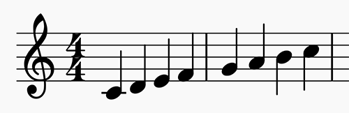 C major scale in 4:4 time