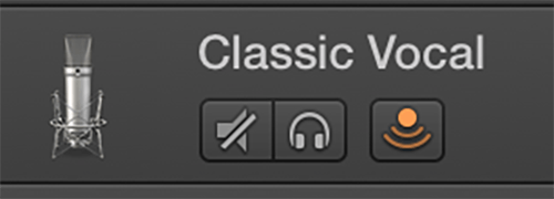 A panel in Garageband showing three buttons. The third one is clicked on.