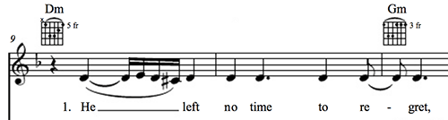 """A measure of music showing the first phrase in """"Back to Black"""" by Amy Winehouse."""