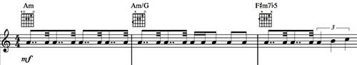 """Three measures of music showing a piano riff from """"While My Guitar Gently Weeps"""" by the Beatles."""