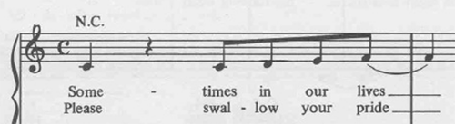 Sheet music for the first phrase of Lean on Me