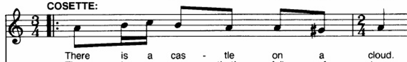Sheet music showing the vocal line for Castle on a Cloud from Les Miserables
