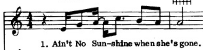 """Sheet music showing the first line of """"Ain't No Sunshine"""" by Bill WIthers"""