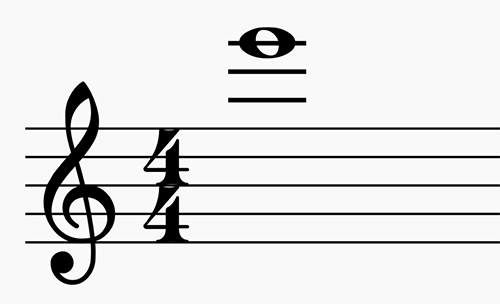 The note E6 on a staff.