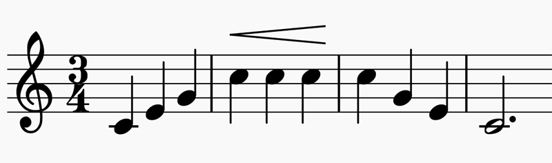 3 measures of music with an octave repeat scale that crescendoes on the top note
